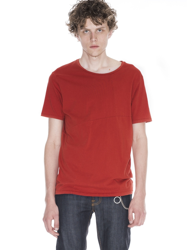 Ove Patched Tee Blood Orange short-sleeved tees solid