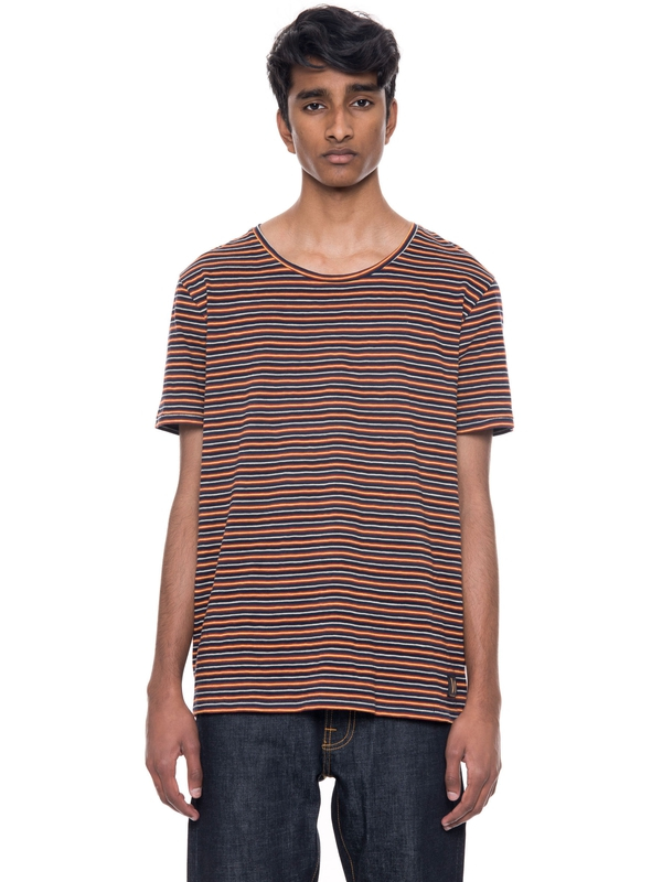 Ove Plural Stripe Navy/Red/Offwhite short-sleeved tees printed
