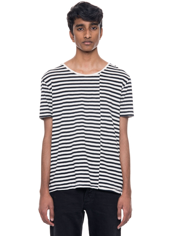 Ove Skewed Stripe Offwhite/Black short-sleeved tees solid