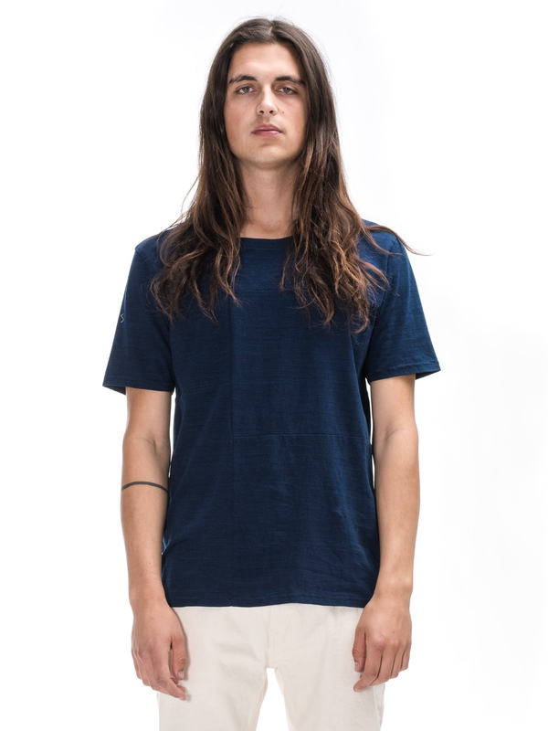Patched Tee Indigo short-sleeved tees solid