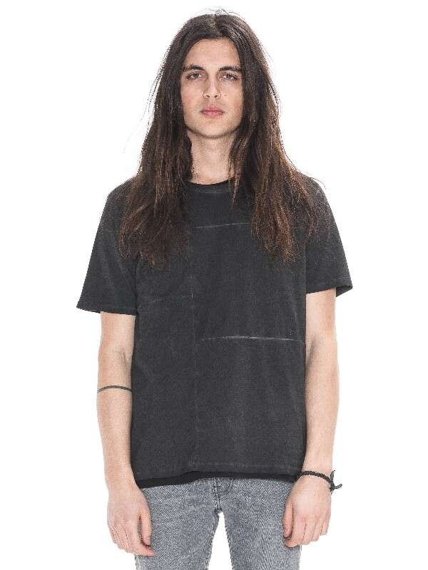 Patched Tee Pigment Black short-sleeved solid tees