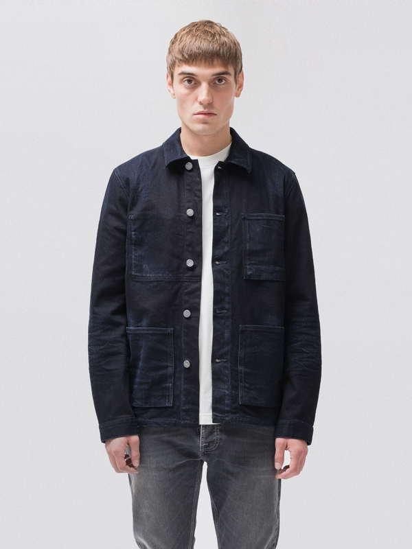 Paul Worn Dark Indigo dry denim-jackets