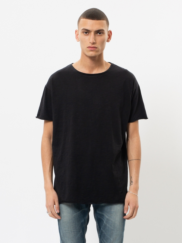 Roger Slub Black short-sleeved tees solid