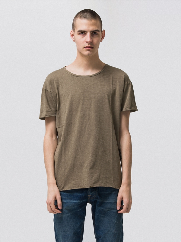Roger Slub Desert Green short-sleeved tees solid