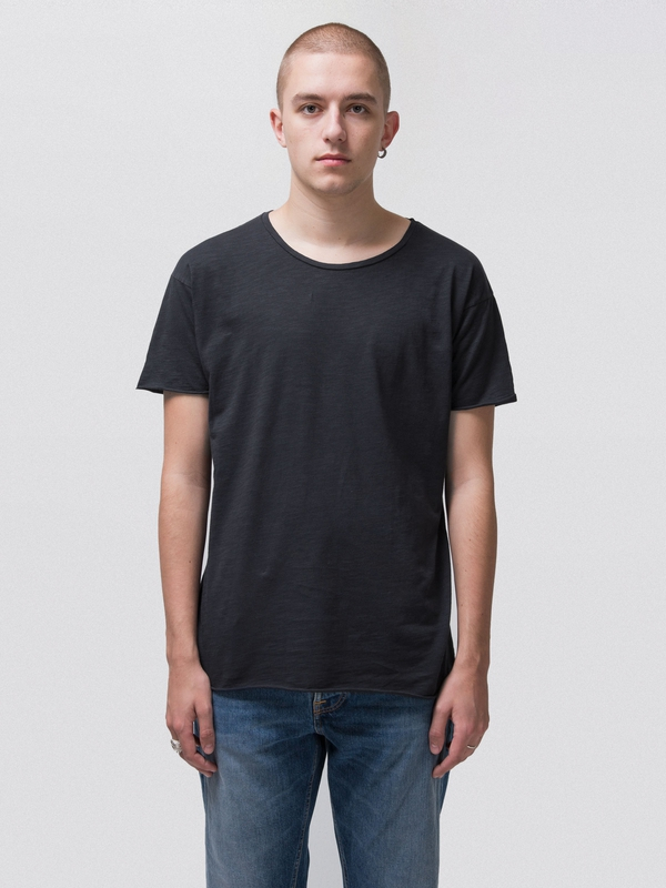 Roger Slub Navy short-sleeved tees solid
