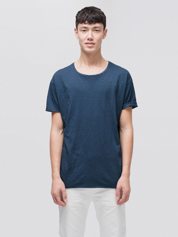 Roger Slub Oden Blue short-sleeved tees solid