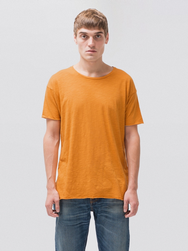 Roger Slub Orange short-sleeved tees solid