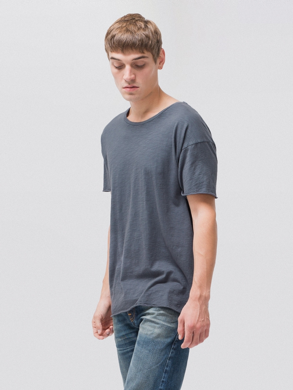 Roger Slub Smokey Blue short-sleeved tees solid