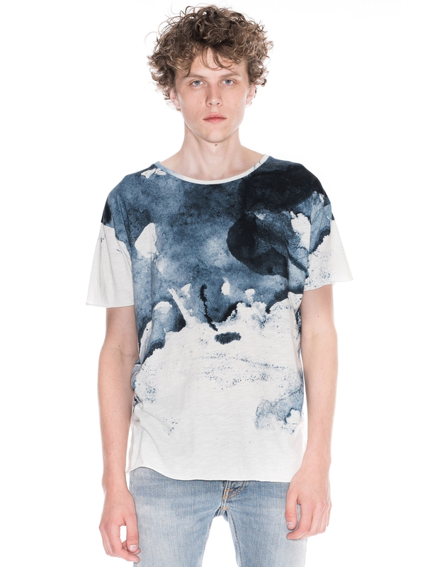 Roger Smudge Print Offwhite/Navy short-sleeved tees printed