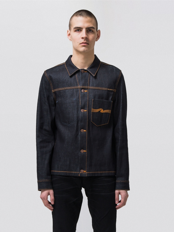 Ronny Dry Orange Embo Denim dry denim-jackets