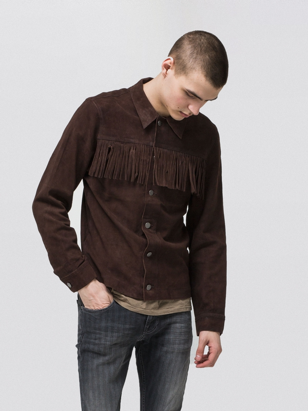 Ronny Fringe Jkt Choko leather-jacket jackets