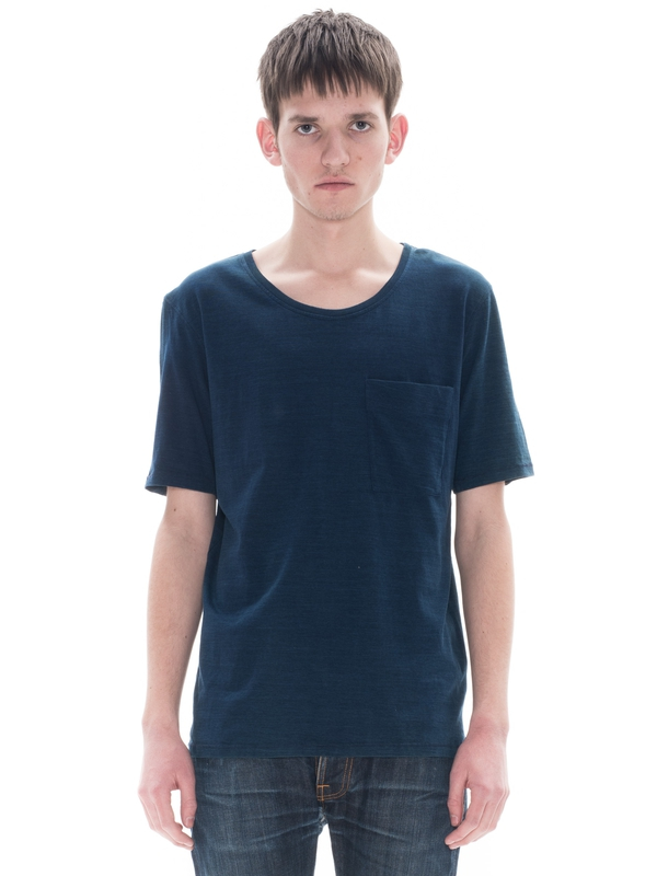 Roundneck Pocket Tee Org Indig Indigo short-sleeved tees solid