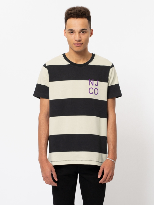 Roy Block Stripe Black White short-sleeved tees