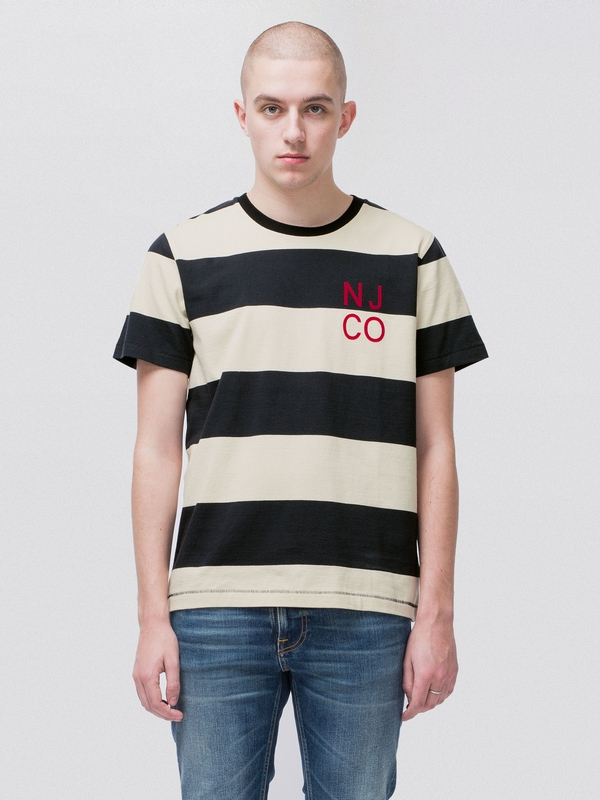 Roy Block Stripe Offwhite Black short-sleeved tees printed