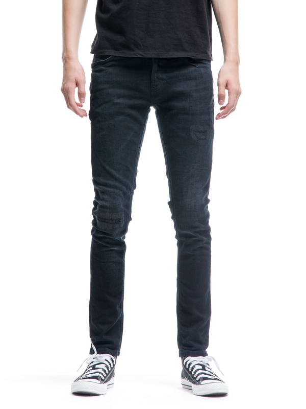 Skinny Lin Black Blue Patches black jeans