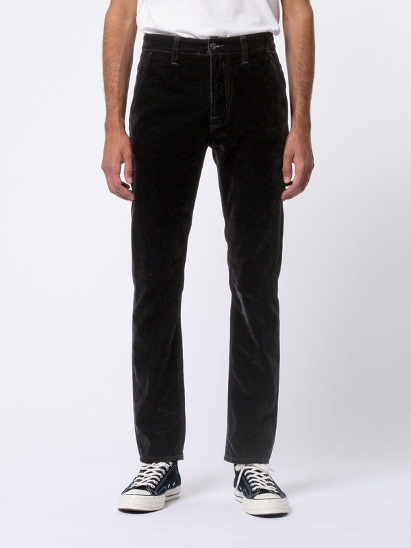 Slim Adam Black Denim Velvet