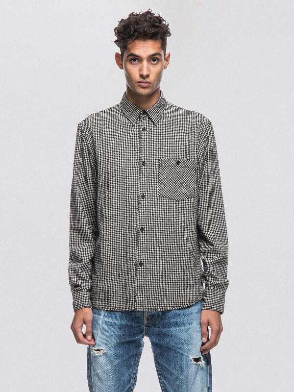 Sten Dogtooth Black/Sand long-sleeved shirts