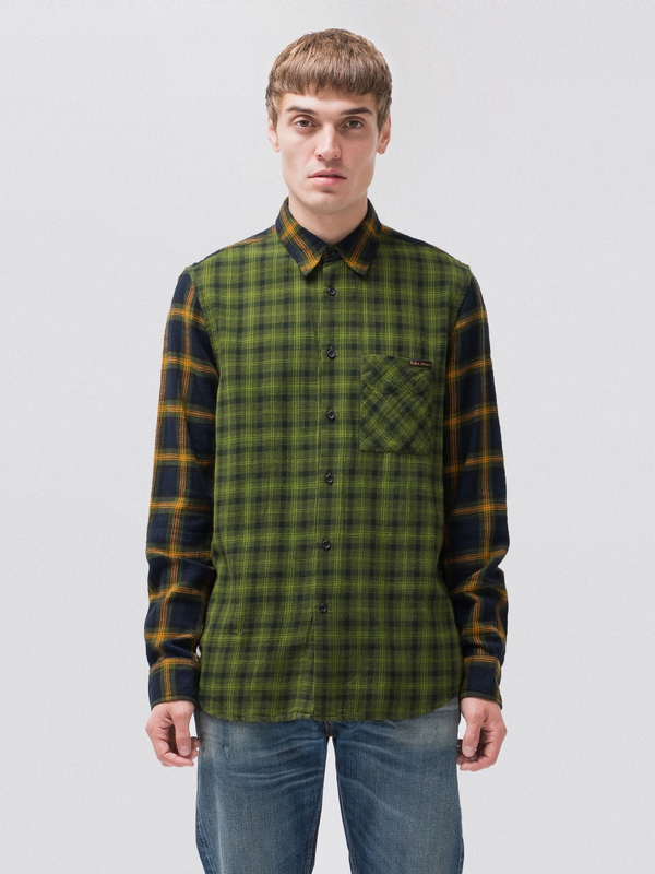 Sten Double Check long-sleeved shirts long-sleeved-denim