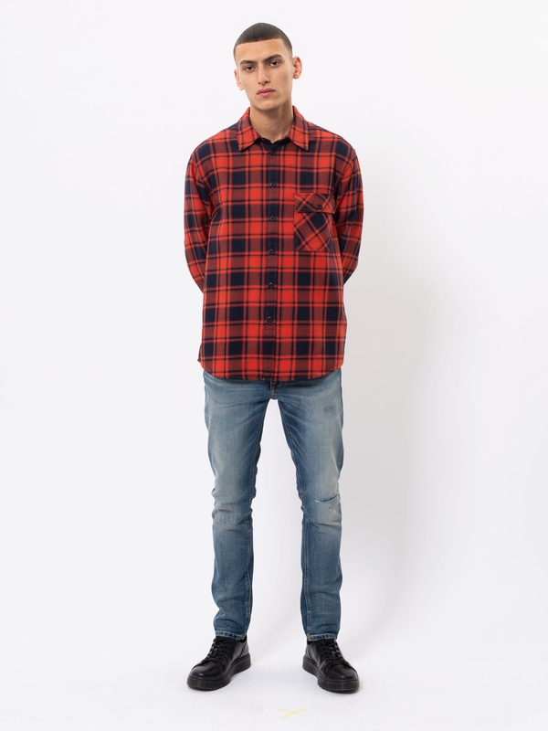 Sten Flannel Check Red Alert long-sleeved shirts