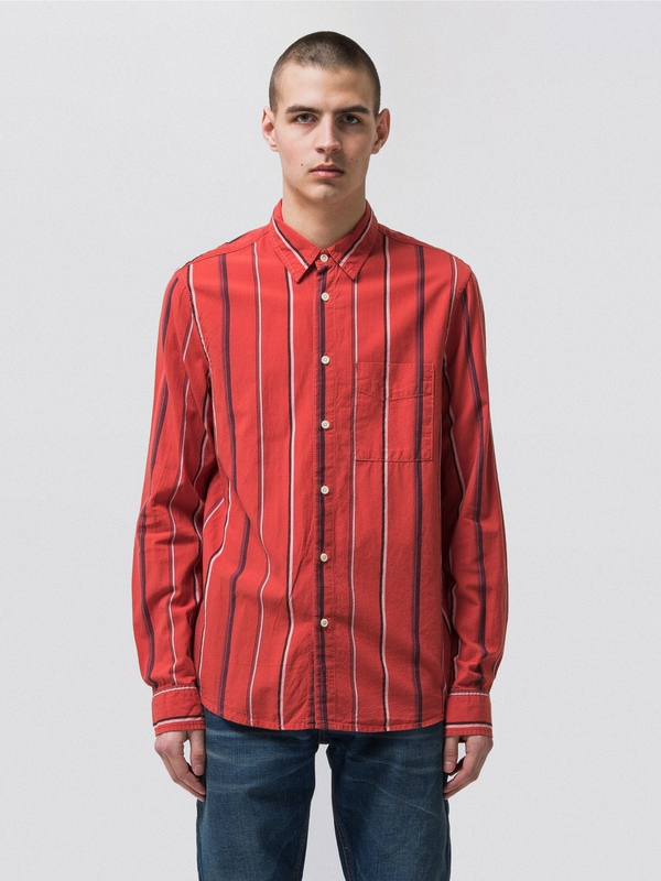 Sten Madras Stripes Aurora Red long-sleeved shirts