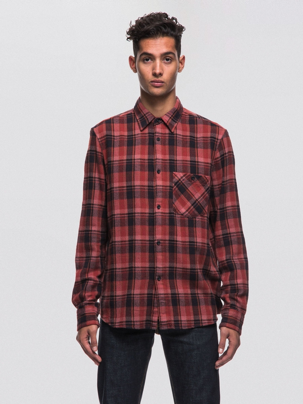 Sten Overdyed Check Mantle Red long-sleeved shirts