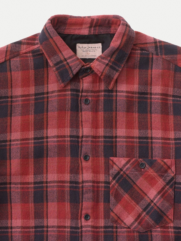 Sten Overdyed Check Mantle Red
