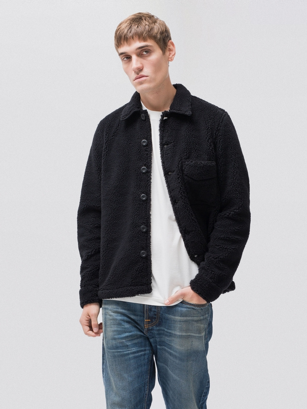 Sten Recycled Fleece Black shirts long-sleeved long-sleeved-denim