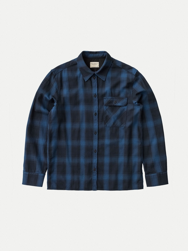 Sten Shadow Check Navy long-sleeved shirts