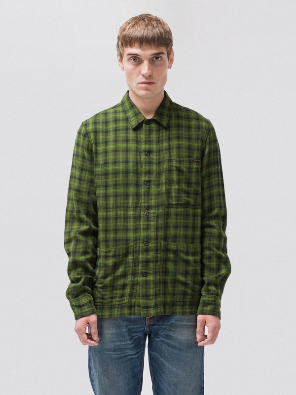 Sten Tonal Check long-sleeved shirts long-sleeved-denim