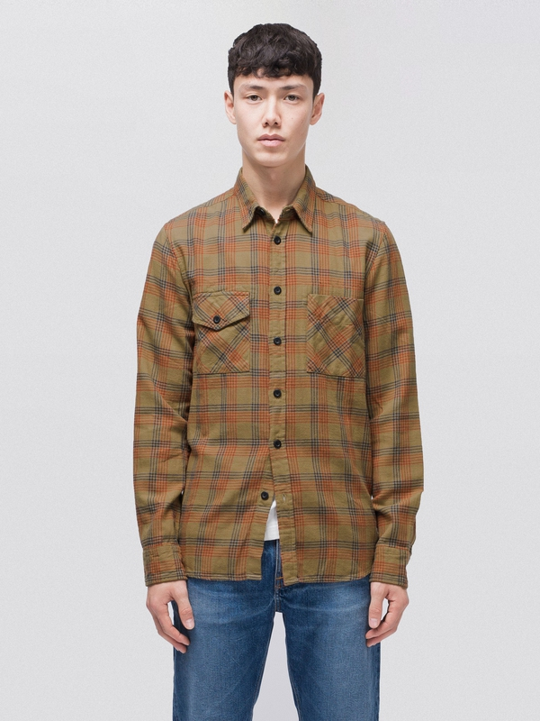 Sten Tricolour Check Beige long-sleeved shirts