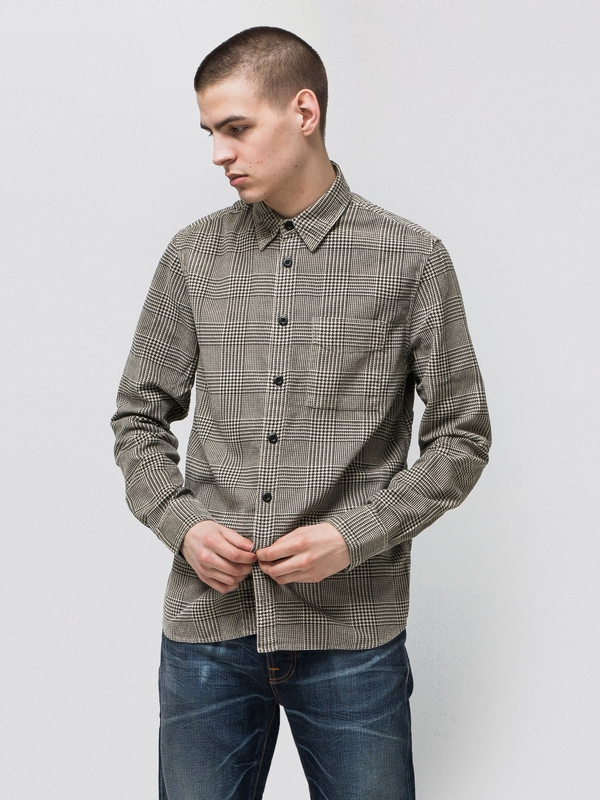 Sten Velvet Glen Check Black/Sand shirts long-sleeved