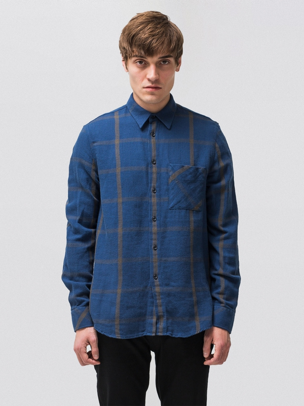 Sten Window Check Oden Blue long-sleeved shirts