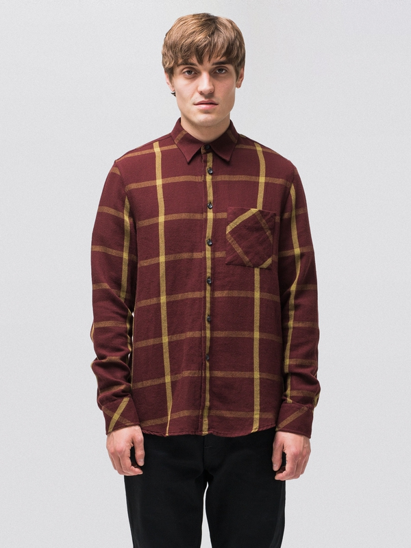 Sten Window Check Plum long-sleeved shirts
