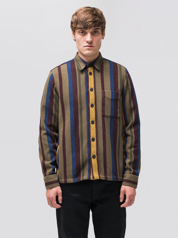 Sten Wool Club Stripes Multi long-sleeved shirts