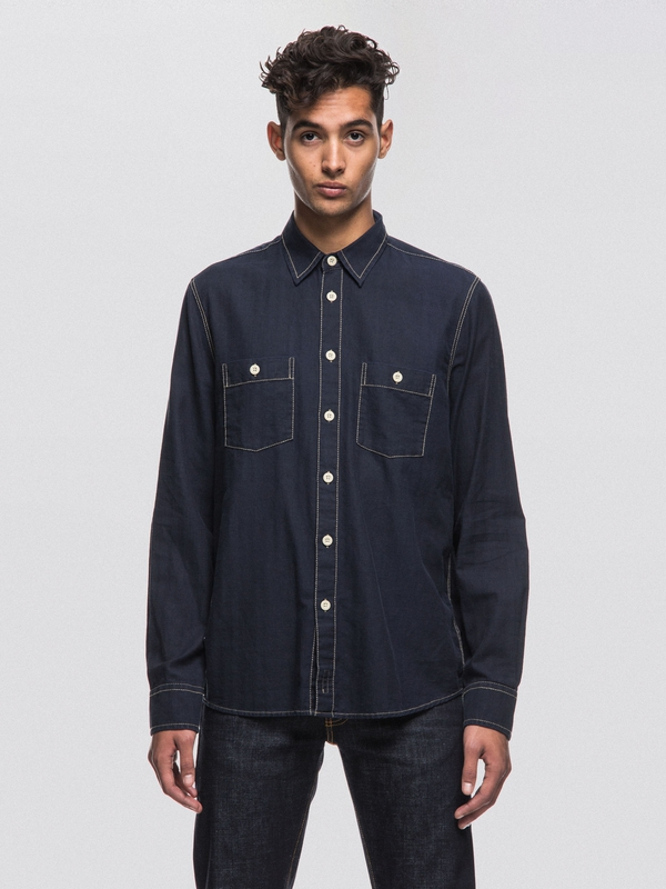 Sten Worker Shirt Navy long-sleeved shirts