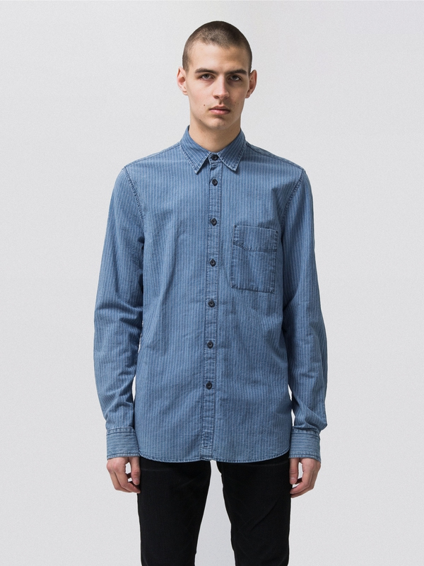 Sten Worker Stripes Indigo long-sleeved shirts
