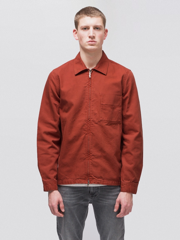 Sten Zip Canvas Ketchup long-sleeved shirts