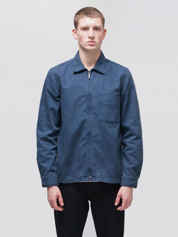 Sten Zip Canvas Oden Blue long-sleeved shirts