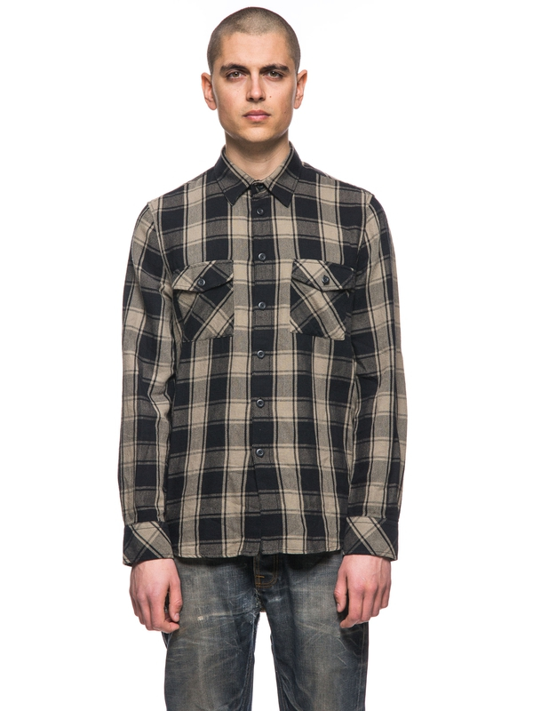 Sten Block Check Desert Green long-sleeved shirts