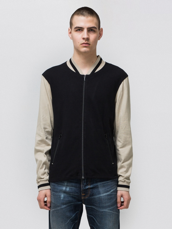 Sture Jersey Bomber Jacket Black/Sand zipped sweaters
