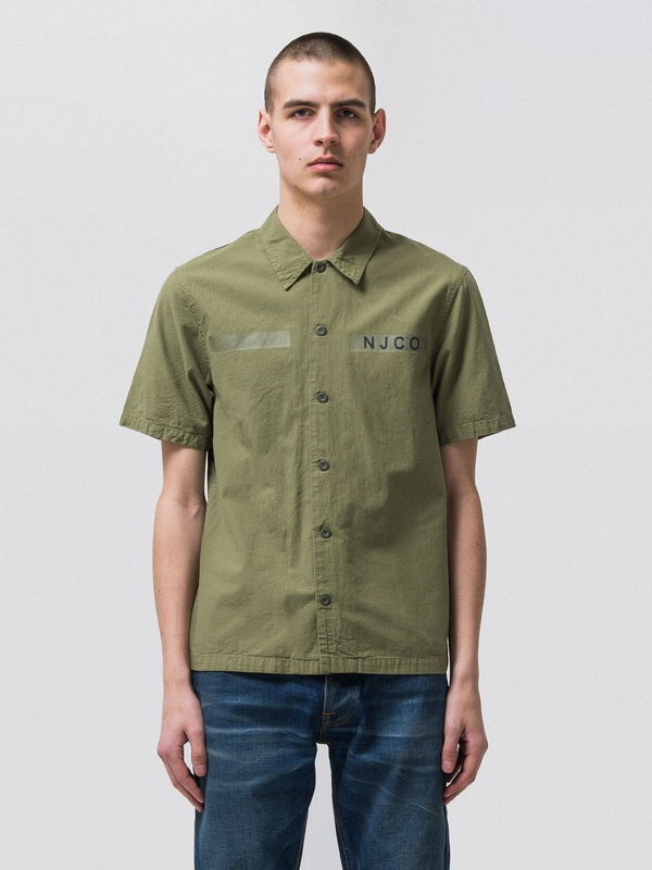 Svante Army Shirt Beech Green short-sleeved shirts