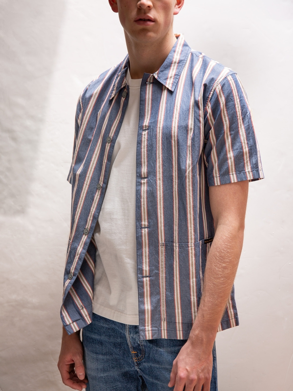 Svante Cuban Stripe short-sleeved shirts
