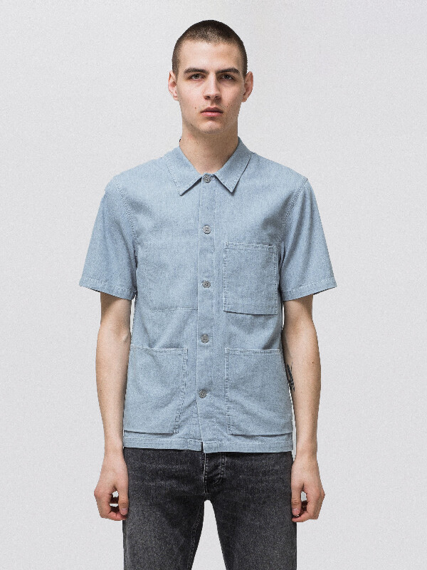 Svante Denim Worker Shirt Indigo short-sleeved shirts