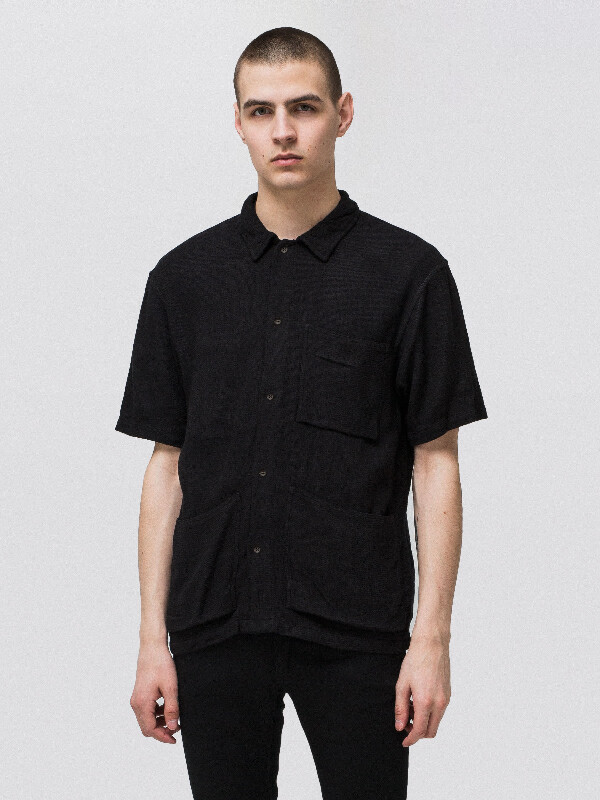Svante Net Worker Shirt Black short-sleeved shirts
