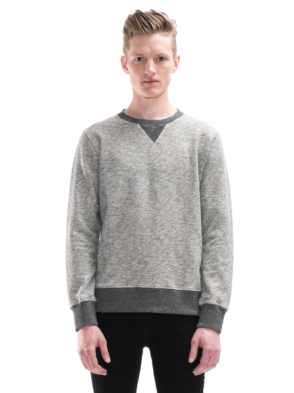 Sven Two Tone Contrast Rib Greymelange regular sweaters