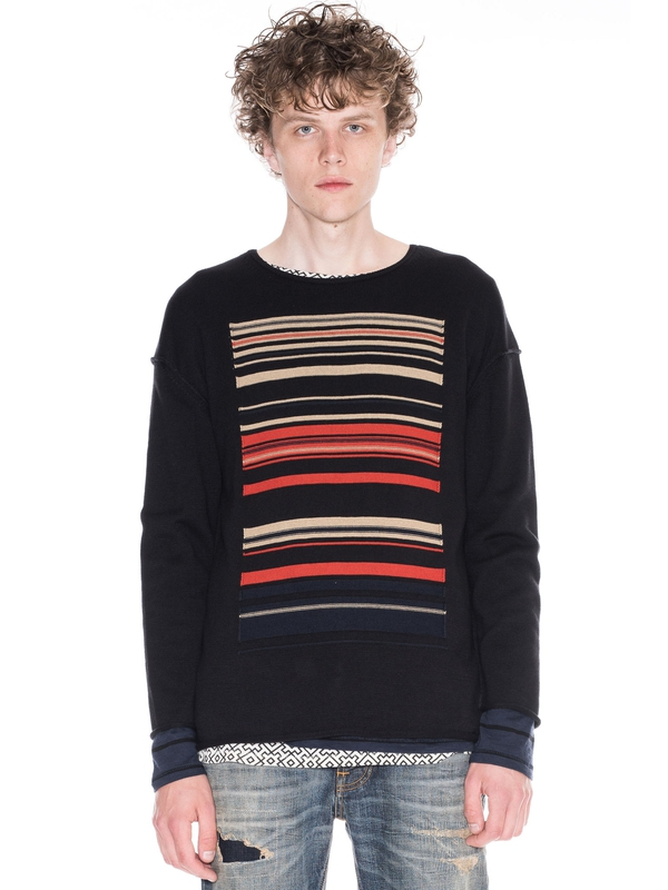 Tomas Ethnic Stripe Black knits