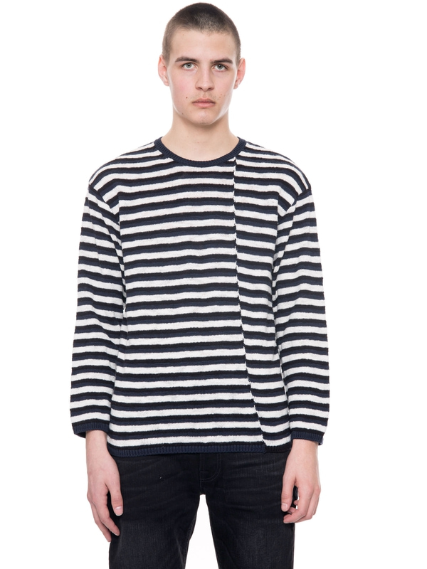 Tony Skewed Stripe Offwhite/Black knits