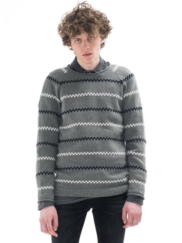 Vladimir Striped Green/Greymelange knits