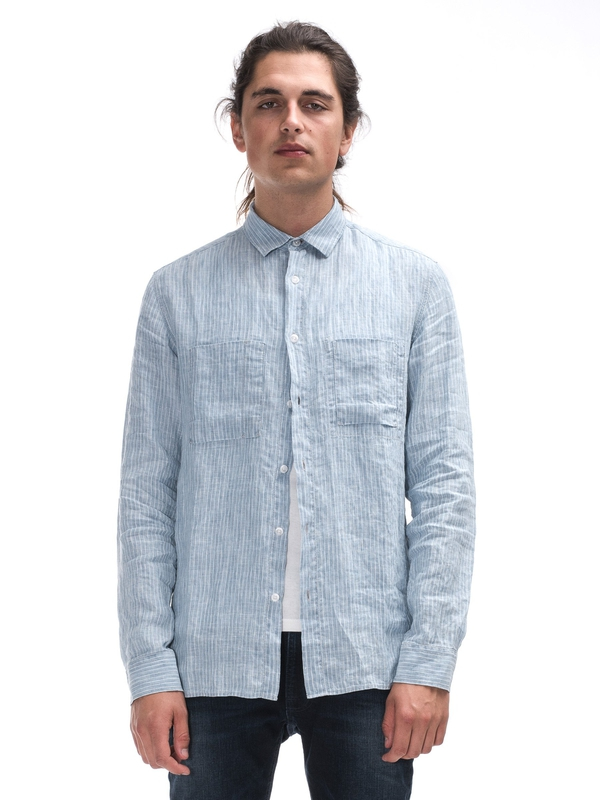 Warren Linen Stripe Indigo shirts