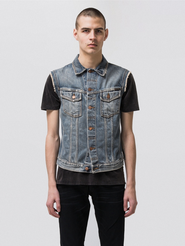 Willy Vest Shimmering Indigo Denim prewashed denim-jackets